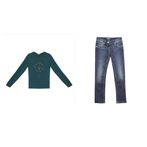 Green Long Sleeve Shirt & Jeans