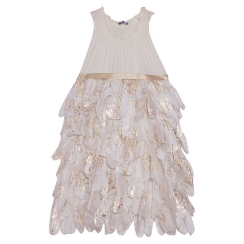 White & Gold Sleeveless Dress