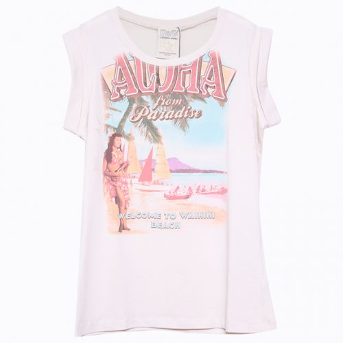 "Pink Sleeveless ""Hawaiian"" T-Shirt"