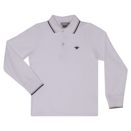 Baby Dior Polo Shirt With Sleeves - White