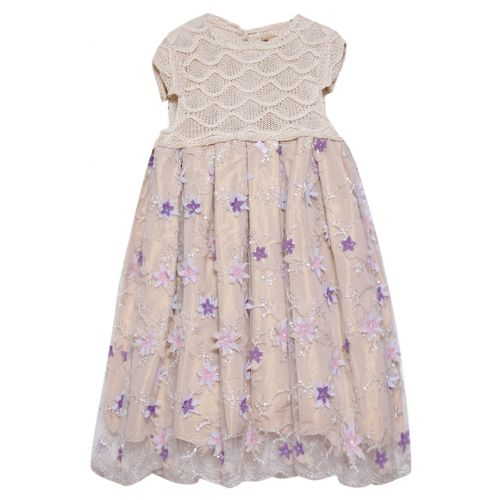Beige Floral Knitted Dress