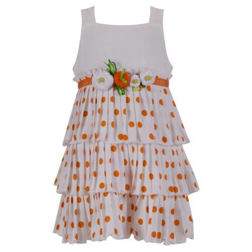 Orange Polka Dot Sleeveless Dress