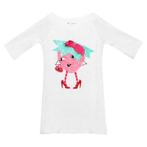 White Dress with Strawberry Girl Print