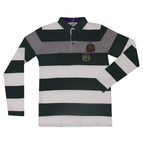 White & Green Stripe Long Sleeve Polo Shirt