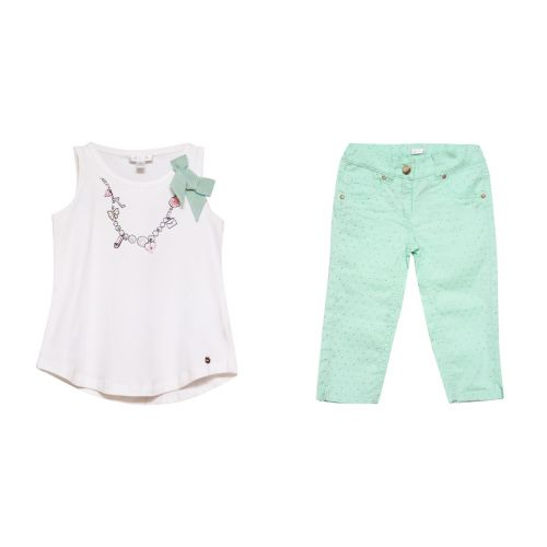 White Sleeveless Top & Green Trousers