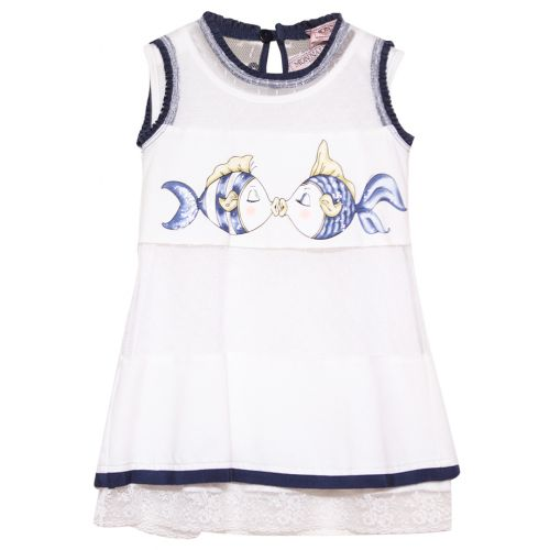 White Sleeveless Dress with Fish Print Design