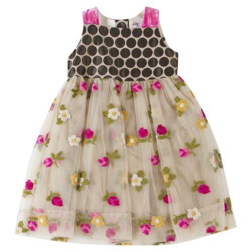 Brown Sleeveless Floral Dress