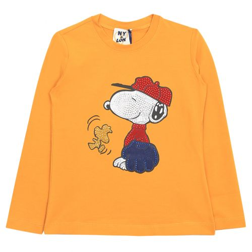 Orange Sweatshirt with Snoopy Character