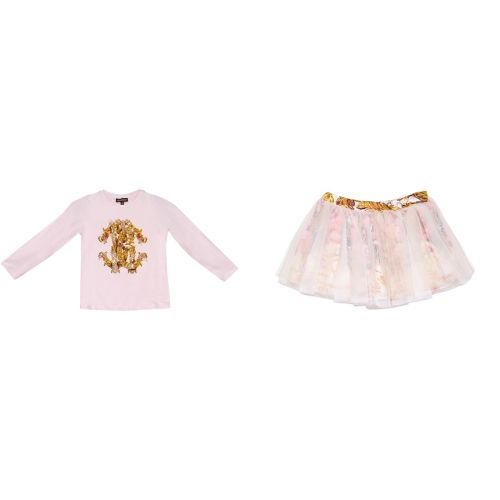 Pink Longs Sleeve Shirt and Skirt