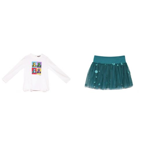 White Teddy Bear Sweater and Skirt