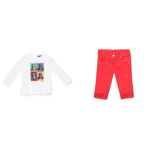 White Long Sleeve Shirt & Red Trouser