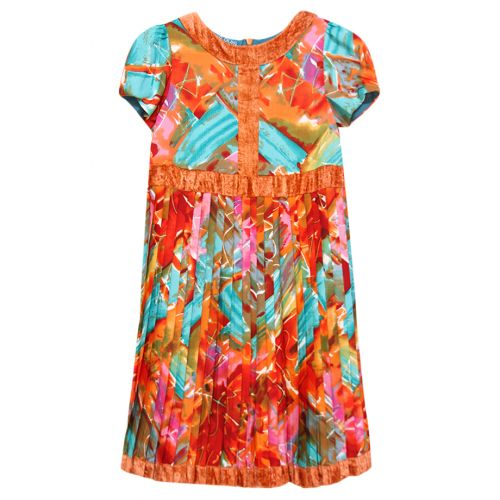 Multicolored Short Sleeve Dress