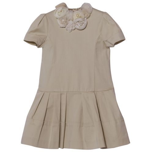 Beige Short Sleeve Floral Dress