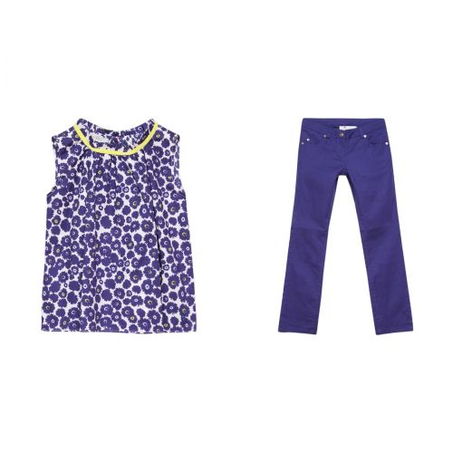 Blue Floral Sleeveless Blouse & Trousers