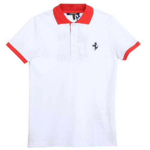 White with Red Trim Polo Shirt