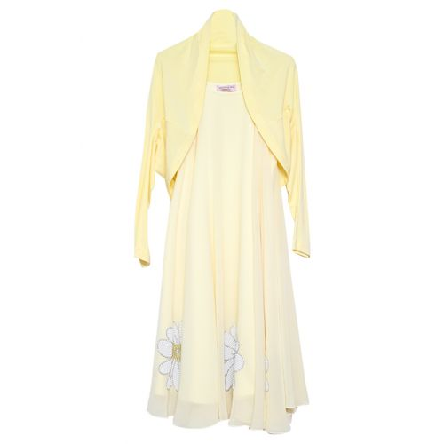 Yellow Flower Print Dress & Bolero