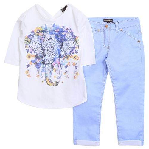 "Blue Floral ""Elephant"" Shirt and Pants"