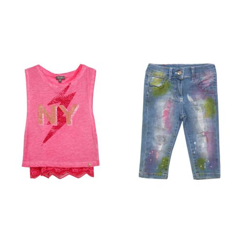 "Pink ""NY"" Sleeveless Shirt & Jeans"