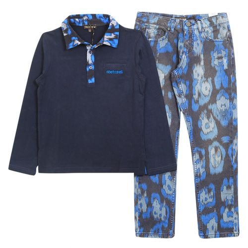 Roberto Cavalli Top With Pants - Blue
