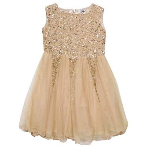 Beige Sequins Sleeveless Dress