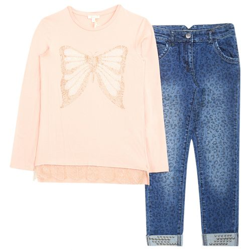 """Multicolored """"Butterfly"""" Long Sleeve Top with Jeans"""