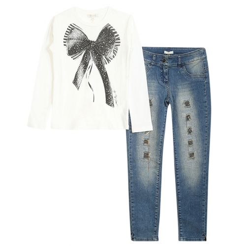 White Long Sleeve Top with Jeans