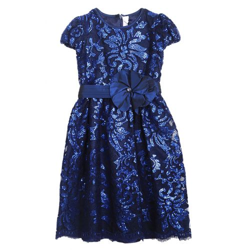 Blue Shiny Floral Dress Design