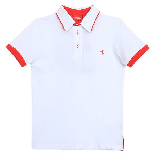 White Polo Shirt with Stitched Design