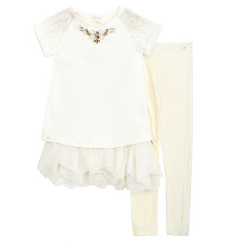 Beige Short Sleeve Dress and Leggings