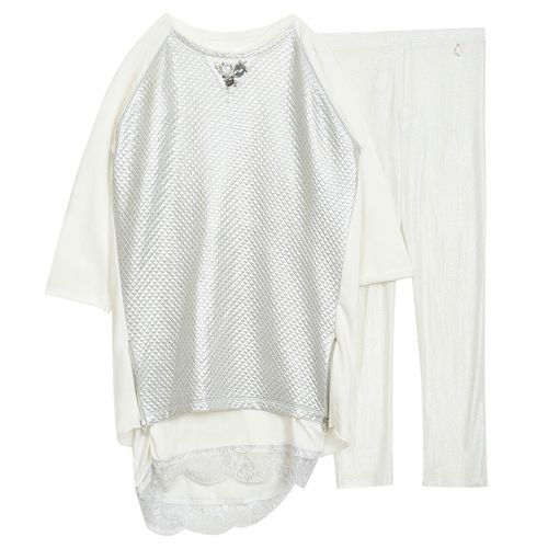 Lulu Girl Dress With Leggings - White