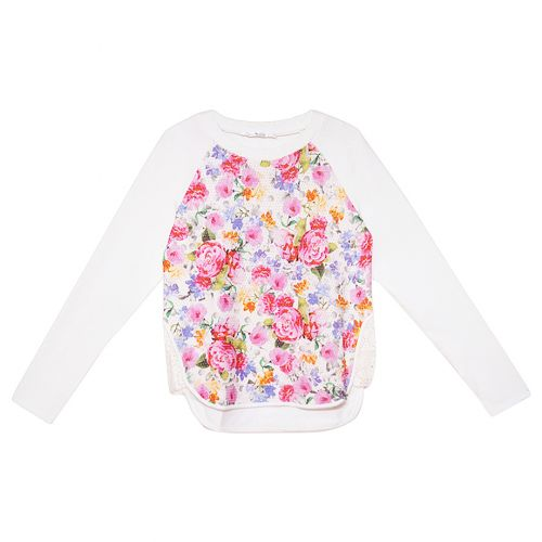 White Long Sleeve Floral Sweater