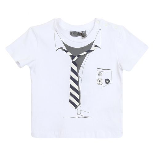 White Printed Necktie T-Shirt