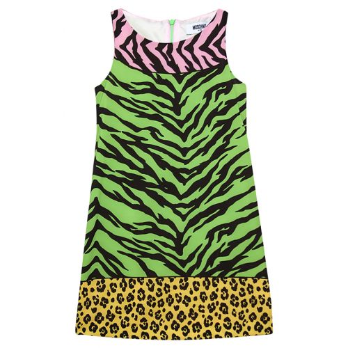 Green Tiger & Leopard Sleeveless Dress