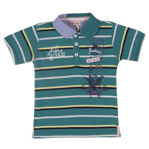 Blue-Green Stripe Polo Shirt