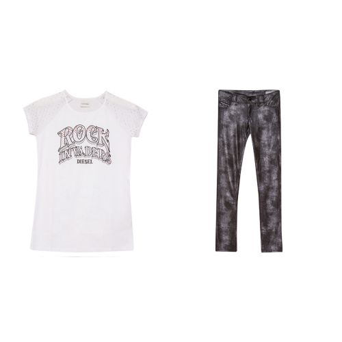 "White ""Rock Invaders"" Shirt & Leggings"