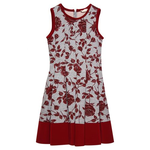 Red Sleeveless Floral Dress