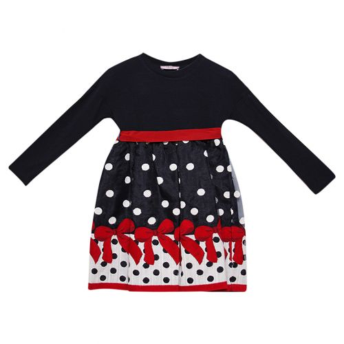 Dark Blue Ploka Dot and Floral Dress