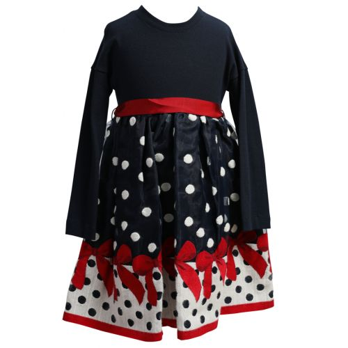 Dark Blue Dress with Polka Dot and Floral Design
