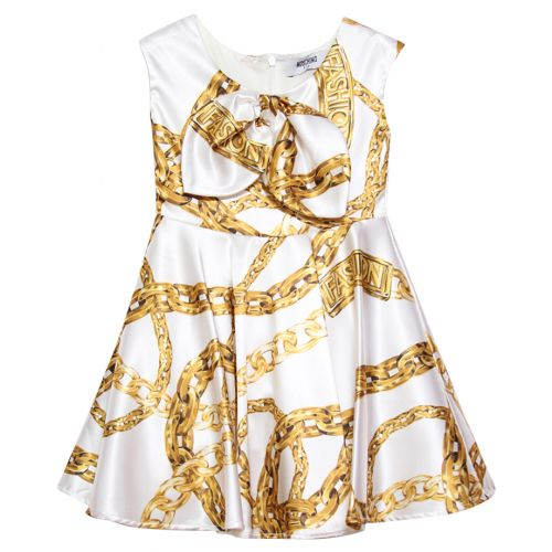 Cream Sleeveless Gold Chain Dress