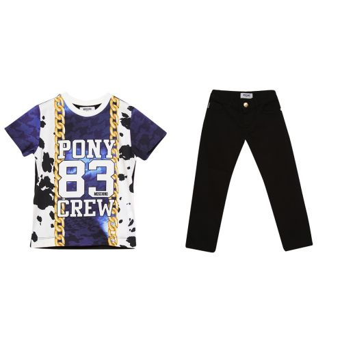 "Blue ""Pony 83 Crew"" Shirt & Pants"