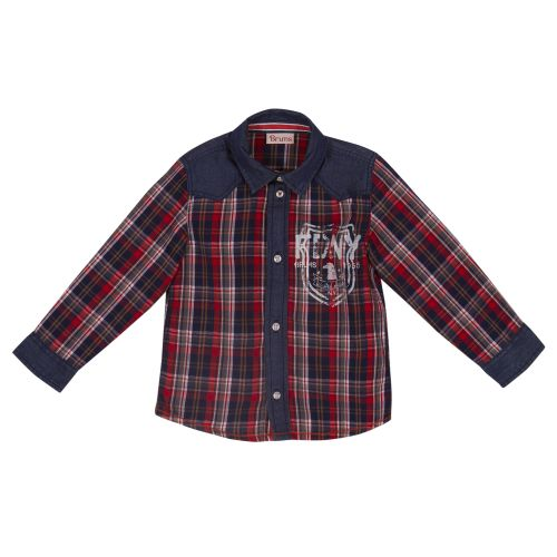 Red Checkered Long-sleeves Denim Collar Polo