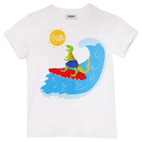 White Dinosaur Surfing T-Shirt