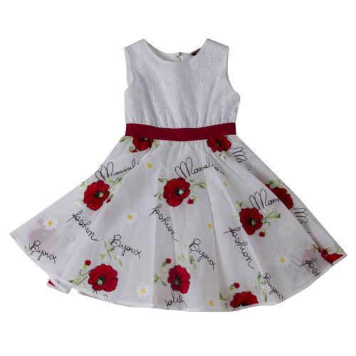 White Sleeveless Floral Dress