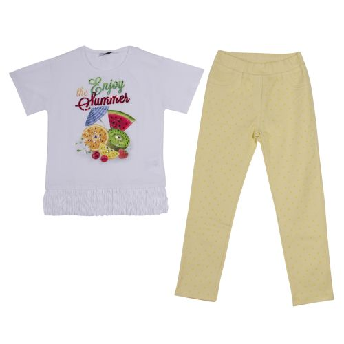 "White ""Summer Fruits"" Top with Leggings"