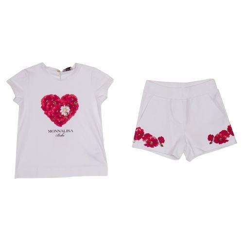 Monnalisa Top & Shorts - White