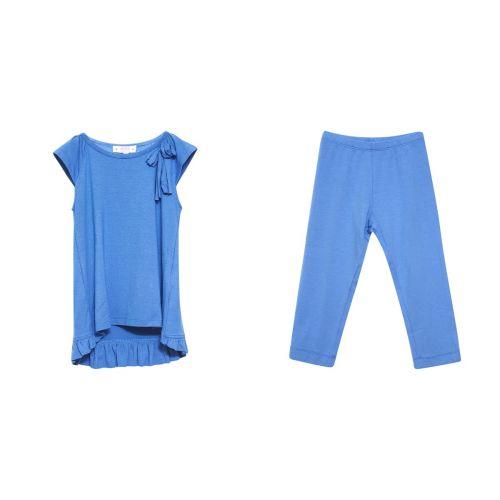 Blue Blouse and Leggings