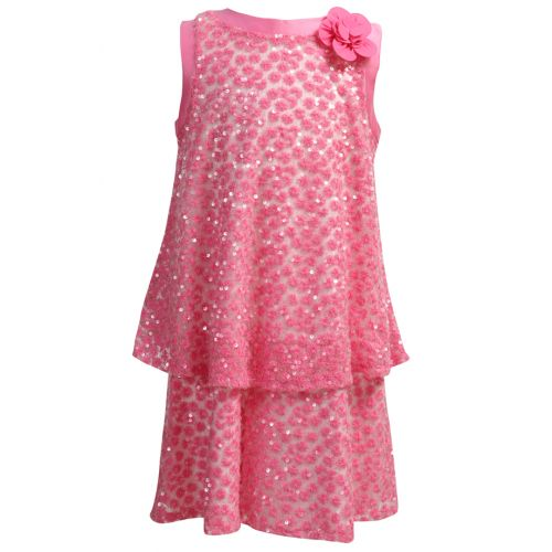 Pink Sleeveless Dress with Floral Design