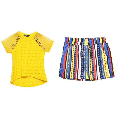 Yellow T-Shirt & Multicolored Shorts
