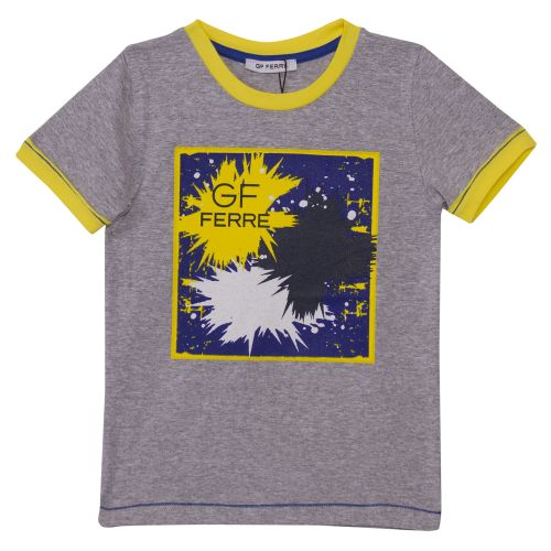 Grey T-Shirt with Yellow Trim