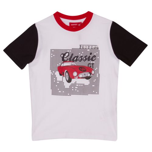 White T-Shirt with Black Sleeves